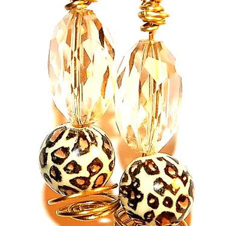 Cheetah Twirl Beaded Earrings