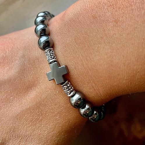 Women's Royal Metallic Cross Bead Bracelet