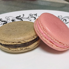 Cookies and cream macarons and Strawberry macarons