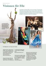 Photo d'une création de la feutrière Evelyne Alice Bridier ( photo centrale ) pour le magazine allemand FILZFUN