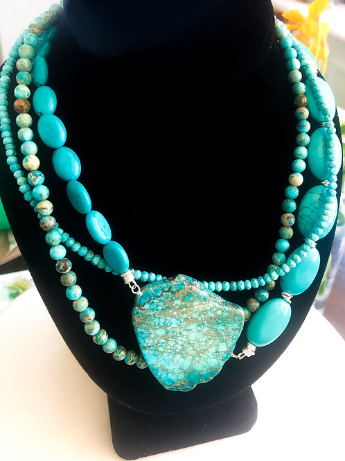 Blue Turquoise Necklace - Short