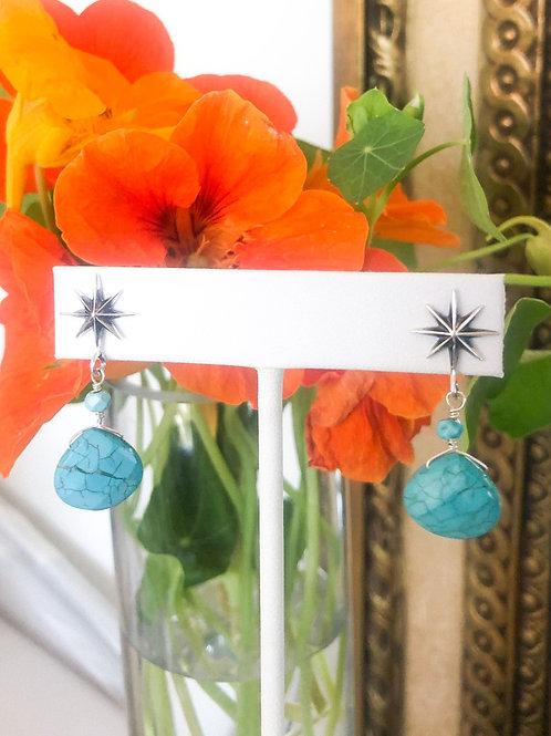 Blue Turquoise Starburst Earrings