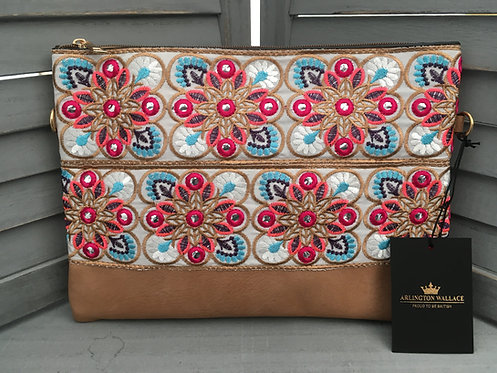 Floral Neon Brown Handbag Clutch Bag