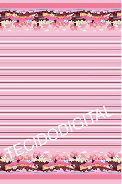 Tecido Digital Barrado Doces Listras