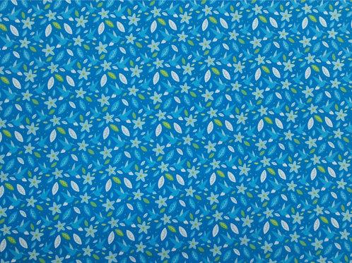 Tecido Flores Fundo Azul