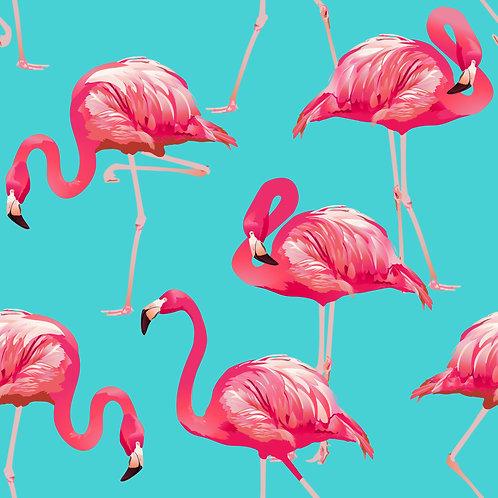 Tecido Flamingo Fundo Azul