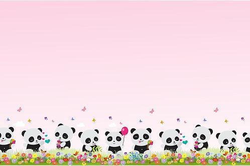 Tecido Barrado Panda Rosa Degradê