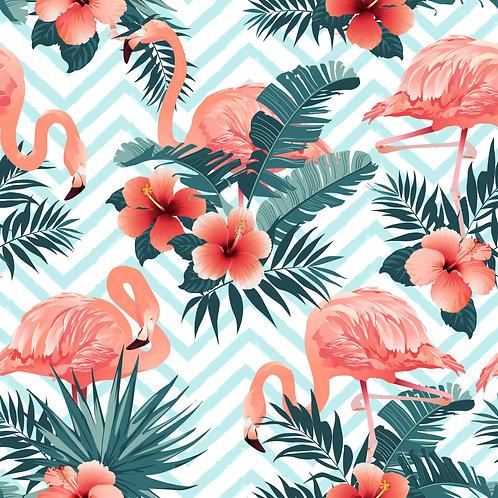 Tecido Estampa Verão Flamingos
