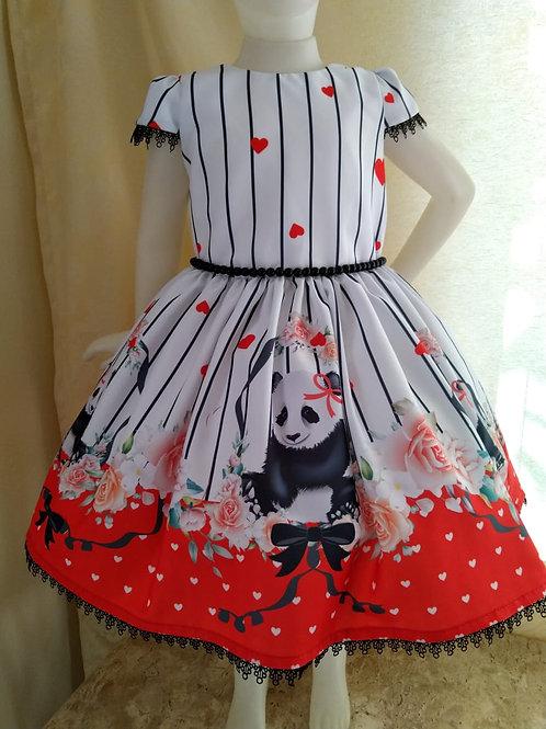 Tecido Barrado Panda Vermelho