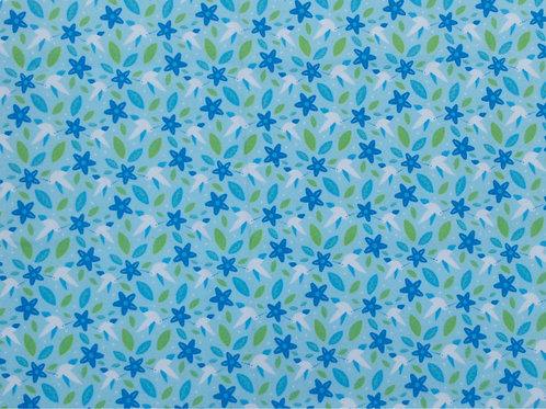 Tecido Flores Fundo Azul Claro