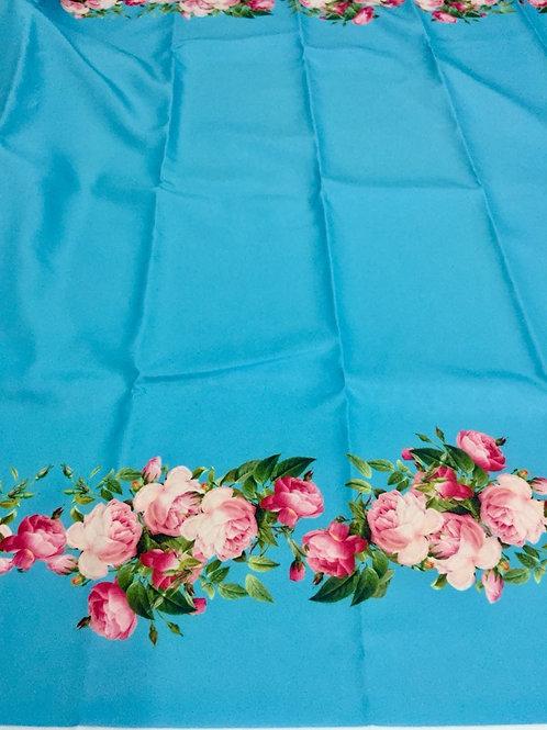 Tecido Barrado Rosas fundo Azul