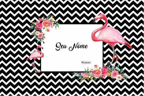 Canga Flamingos Preta