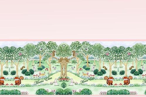 Tecido Digital Floresta Encantada Rosa