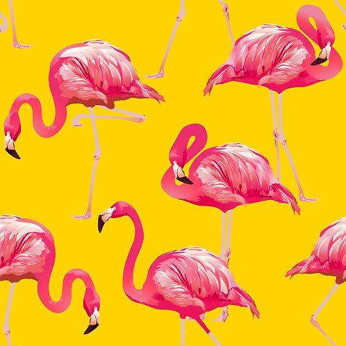 Tecido Flamingo Fundo Amarelo