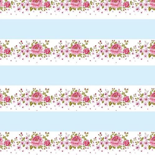 Tecido Listras e Flores