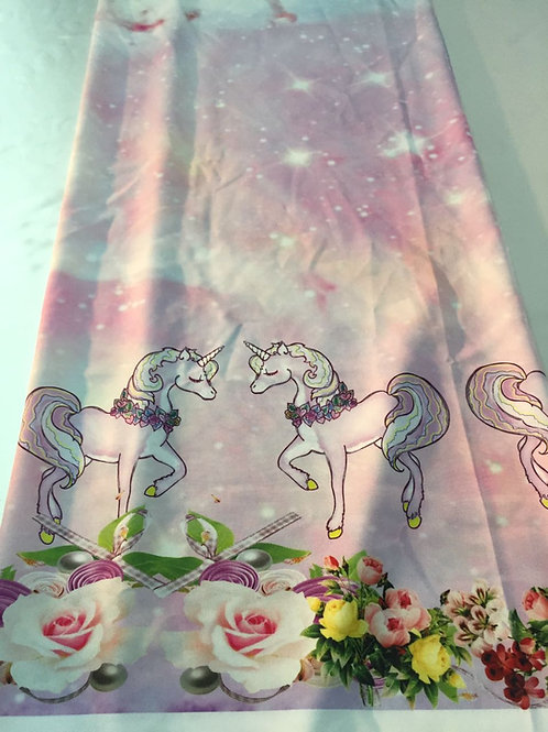 Tecidos Barrados Personalizados Unicórnios Rosas