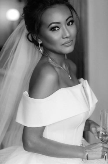 Bride Kunita at her London wedding at Claridges