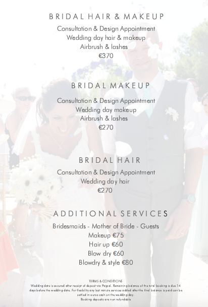 Hair & makeup prices for Ibiza makeup artist Katy Gill