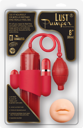 """Lust Pumper 8"""" Vibrating Pump With Gauge - Mouth (Red)"""