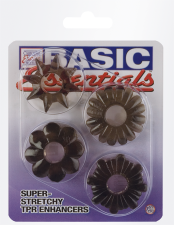 Basic Essentials -Super Stretchy Cock Rings (Smoke)