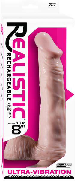 """Realistic  8"""" Vibrating Dong With Balls (Flesh)"""