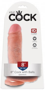 """King Cock 8"""" Cock With Balls (Flesh) Suction Base"""