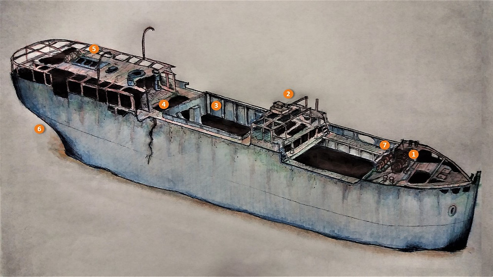 The Naranjito Wreck dive with Scuba Murcia