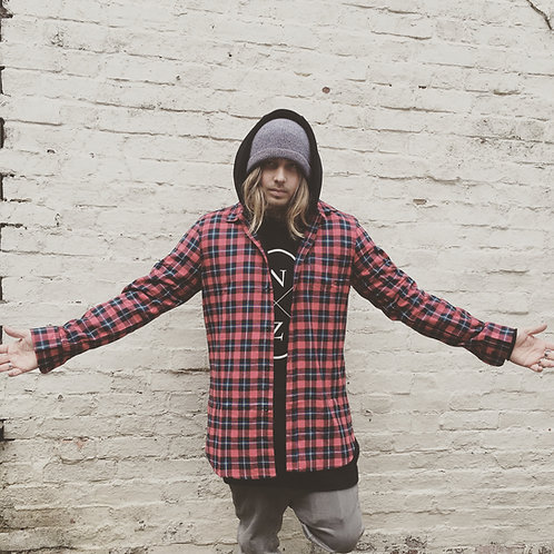Red Longline Flannel Shirt