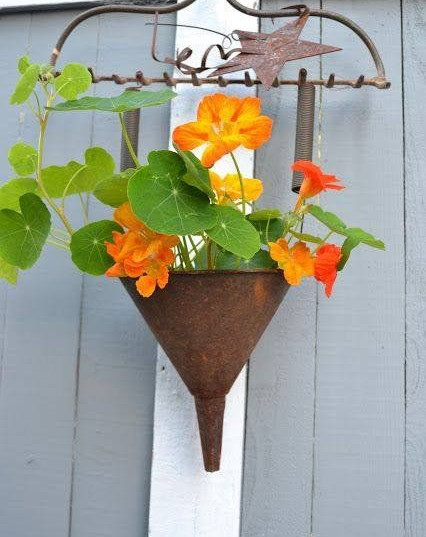 Old Rack Hanger with Old Funnel Planter