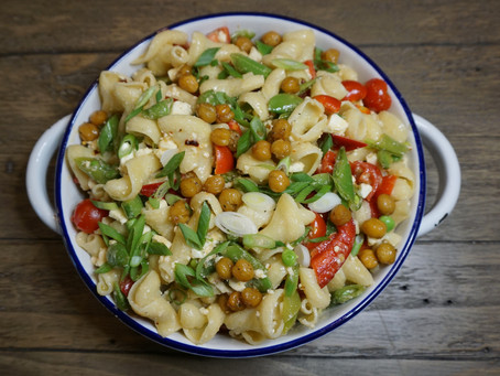 Pasta with Marinated Vegetables and Roasted Chickpeas