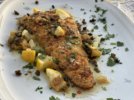 Flounder Parmesan with Brown Butter Sauce