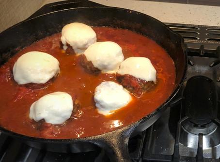 One Pan Saucy Cheesy Meatballs