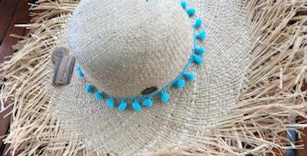 Raffia Hat - Sky Blue