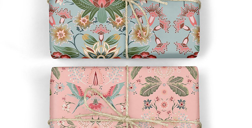 Proteas & Lorikeets Double Sided Gift Wrap