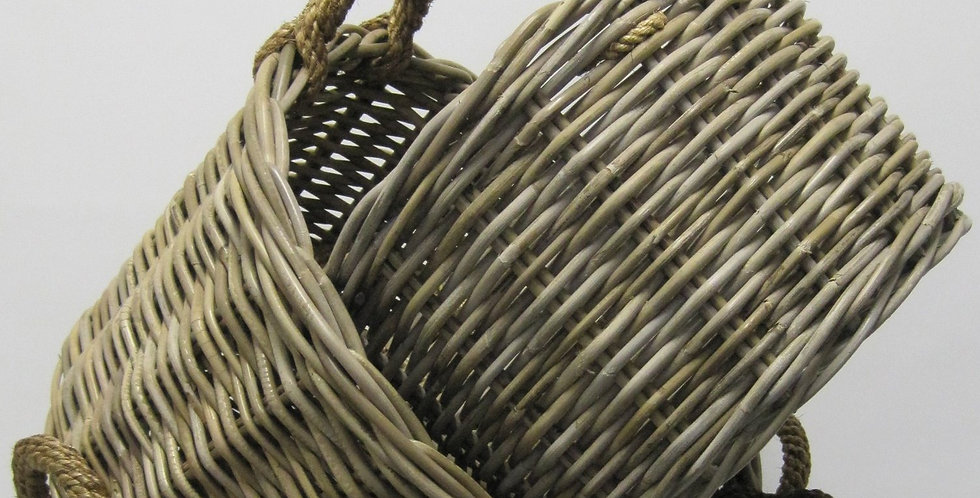 ROUND CANE BASKETS WITH ROPE HANDLES