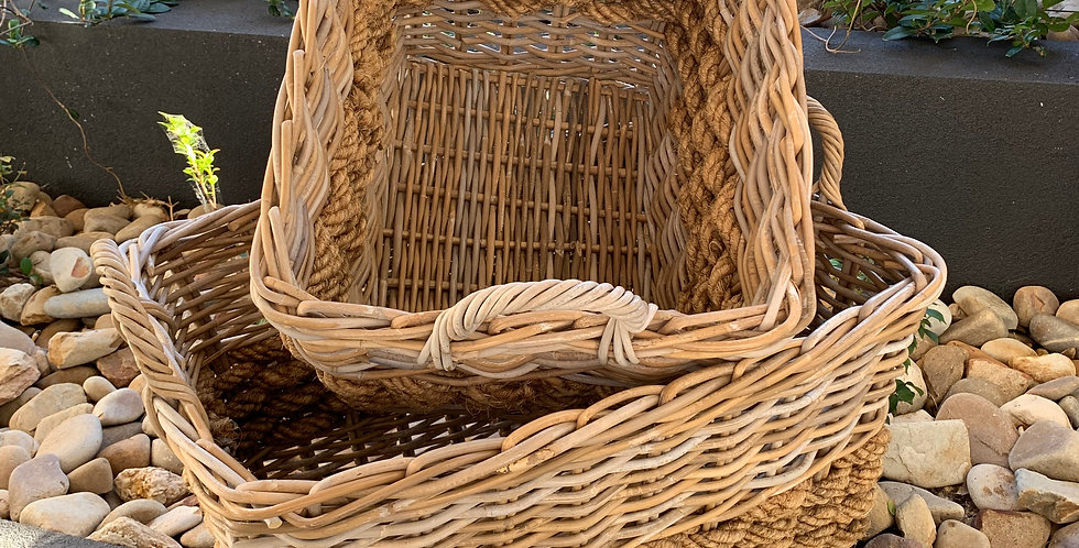 RATTAN & ROPE BASKET LARGE