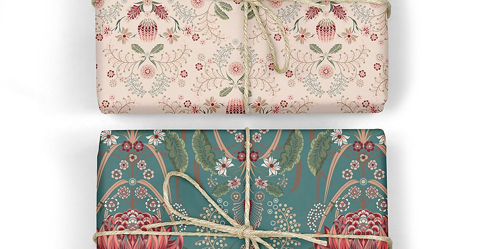 Bush Teal & Grevillea Double Sided Gift Wrap