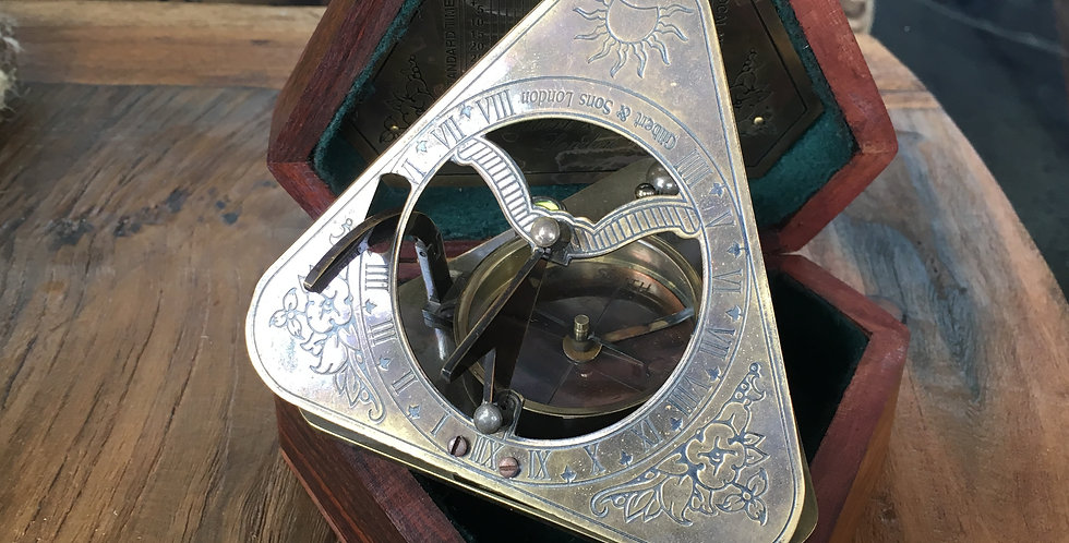 Sundial Compass – Triangle Adjustable Screw Base Brass Antique Finish