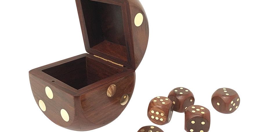 Wood & Brass Dice & Box Set