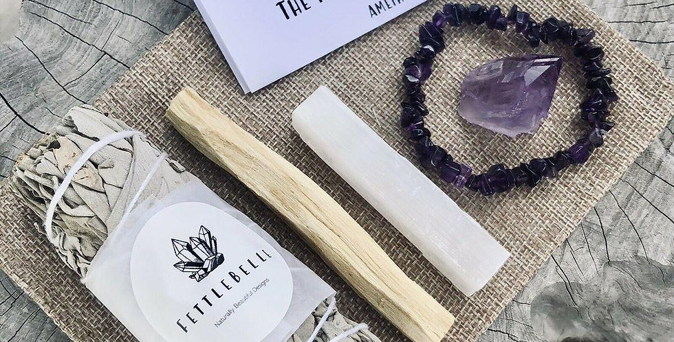 Amethyst Crystal Point Relax & Clarify Smudge Kit