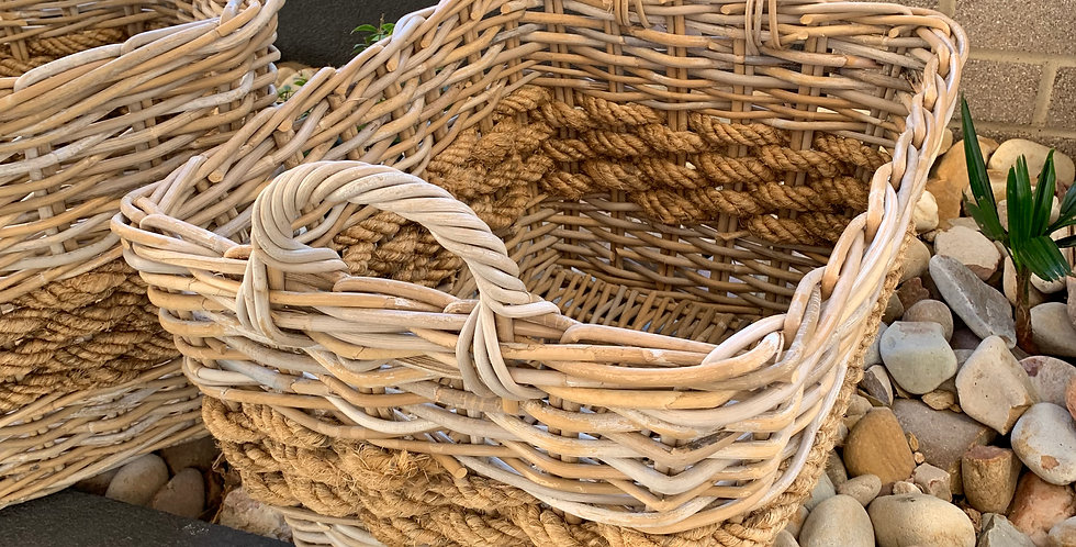 RATTAN & ROPE BASKET SMALL