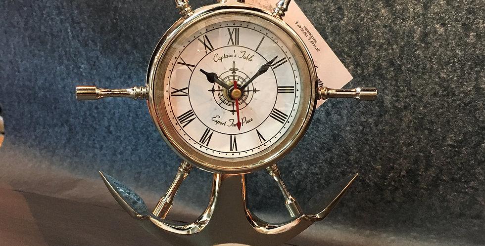 Table Clock – Anchor and Ship Wheel