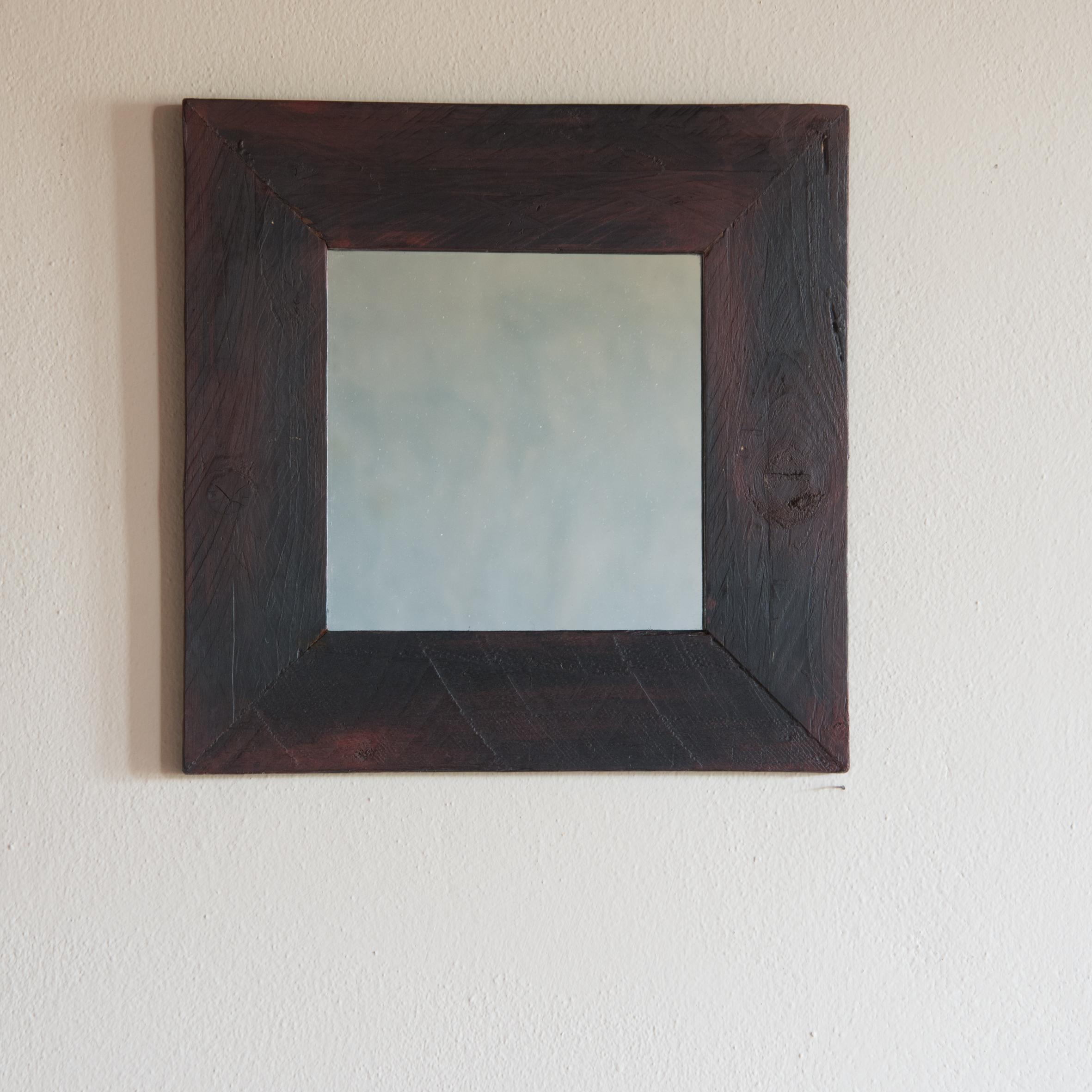 Specchio no.07 in legno di recupero ristrutturato antracite/nero