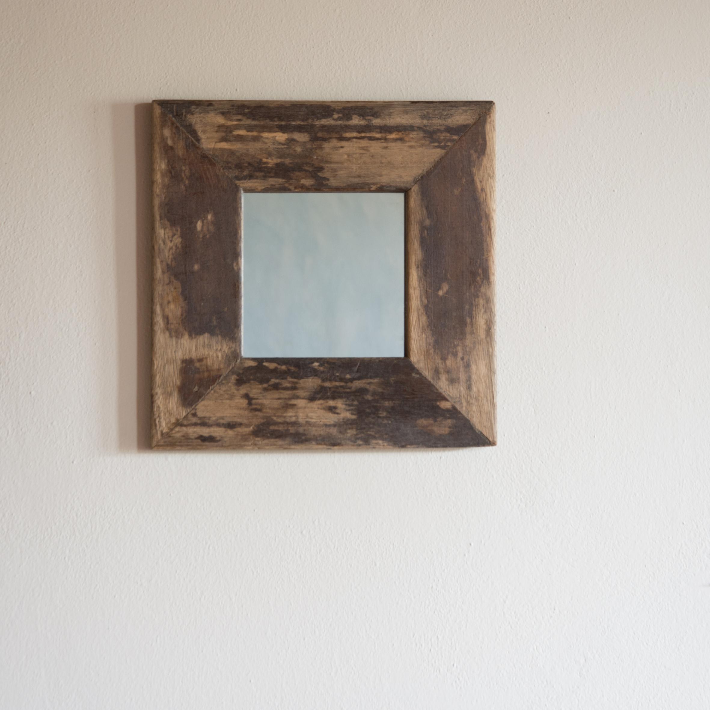 Specchio no.05 in legno di recupero (Teak) pulito e cerato