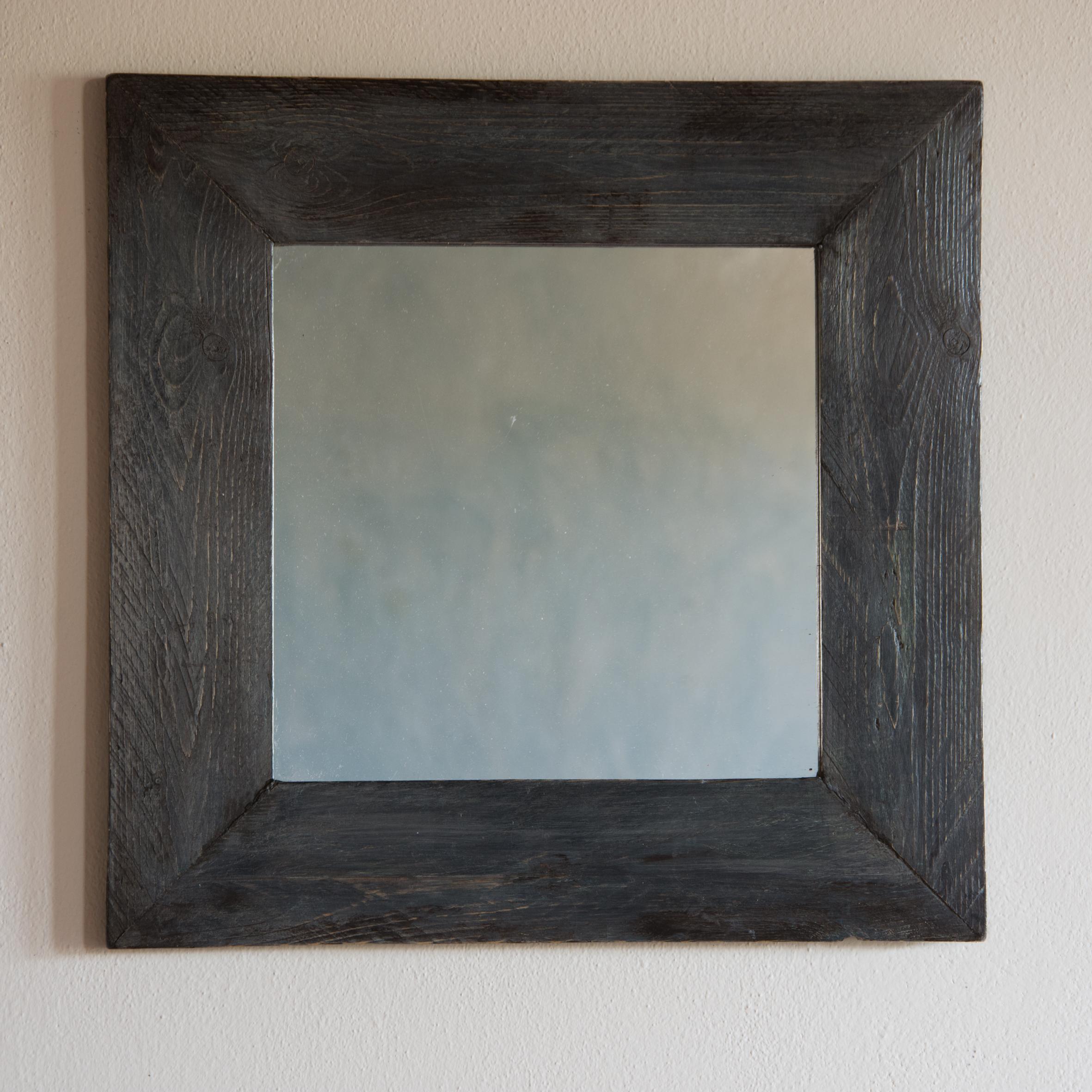Specchio no. 10 in legno di recupero ristrutturato grigio antracite