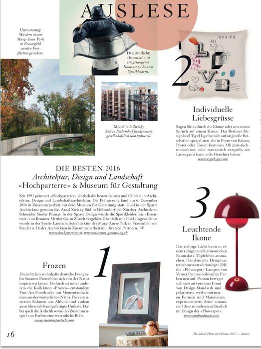 """Suisse Magazin """"Das ideale Heim"""" Feb. 2017"""