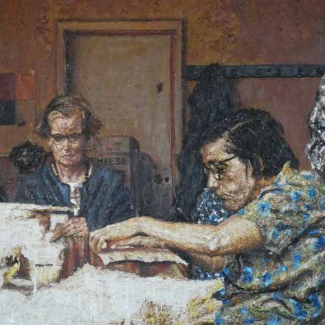 Women at a table 1. 1990.