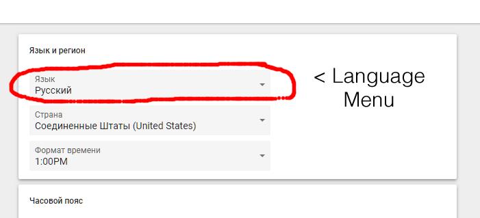 showing top menu item is language selection menu