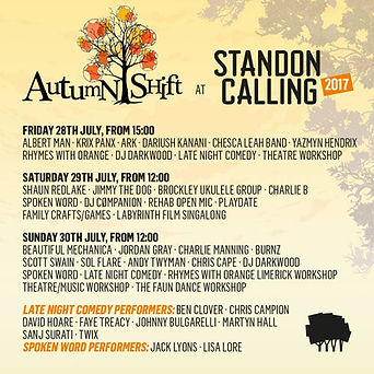 Autumn Shift stage billing at Standon Calling 2017