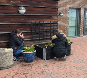 Planting i bed for de eldre på Capralhaugen.